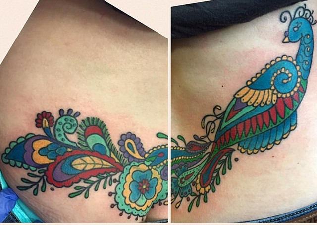 Traditional Peacock Lower Back Cover Up Tattoo