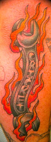 Flaming Wrench Tattoo