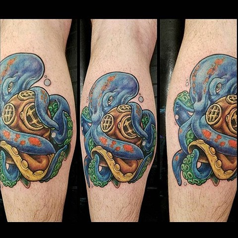 Octopus Diving Helmet Tattoo