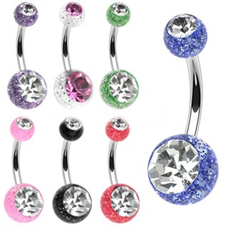 Belly Button Glitter Jeweled Barbell