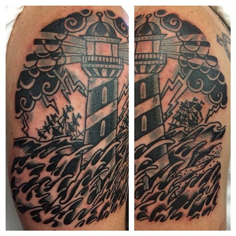 Black and Gray Lighthouse Tattoo