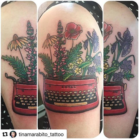Floral Typewriter Tattoo