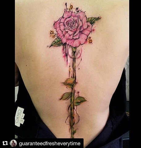 Watercolor Spine Rose Tattoo