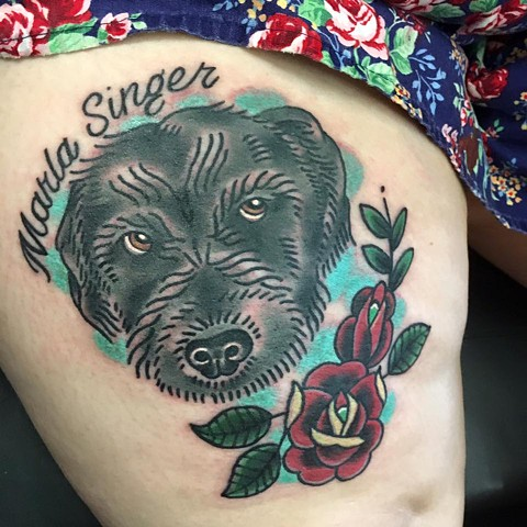 Traditional Dog Portrait Tattoo