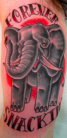 """Forever Snacking"" Traditional Elephant Tattoo"