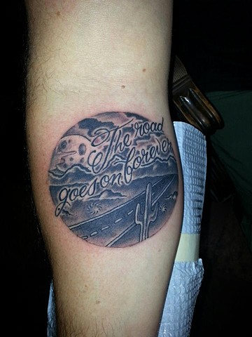 The Road Goes on Forever Tattoo