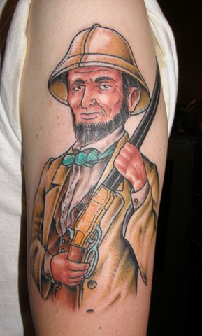 Abraham Lincoln on Safari Tattoo