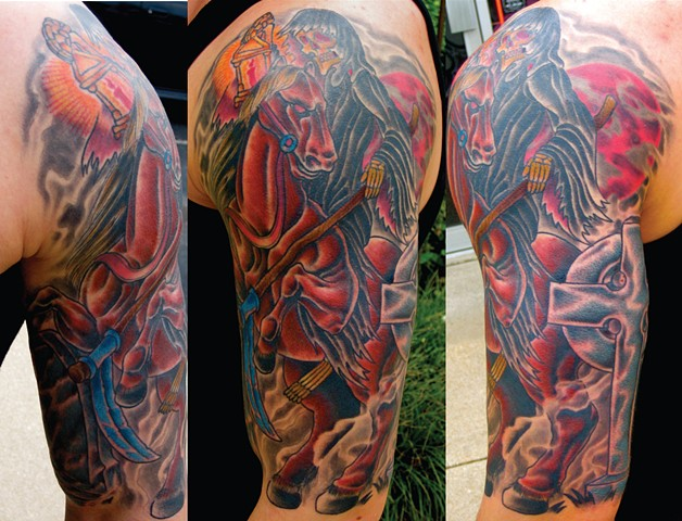 Death on Horseback in Cemetery Traditional Tattoo
