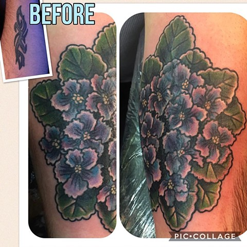 Traditional African Violet Tattoo Cover-up