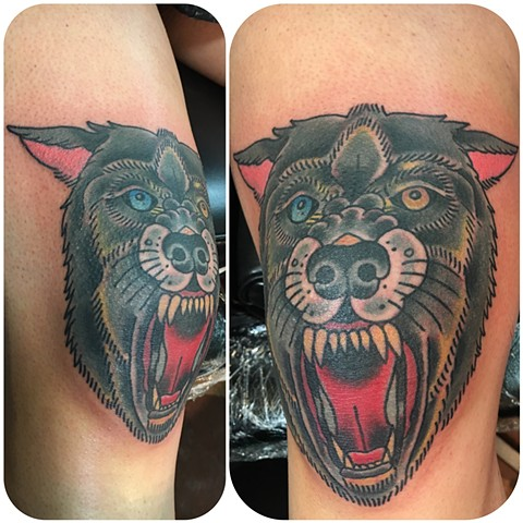 Traditional Wolf Head Tattoo on the Knee - Tina Marabito
