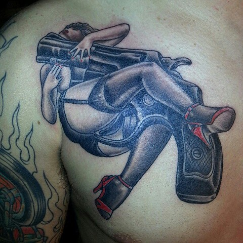 Gun Pin Up Tattoo
