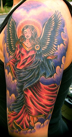 Colorful Angel Tattoo