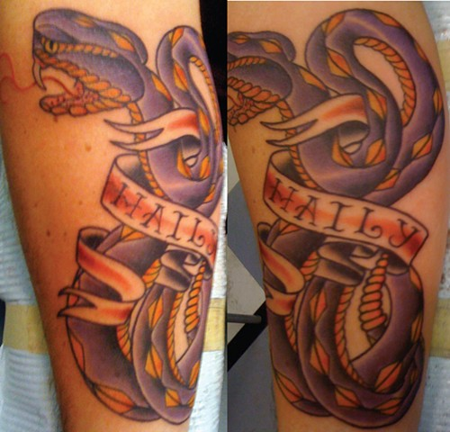 Purple Snake with Banner Tattoo
