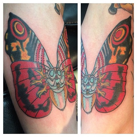 Mothra Giant Moth Monster Tattoo