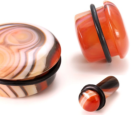 Red Agate Stone Top Hat Plugs