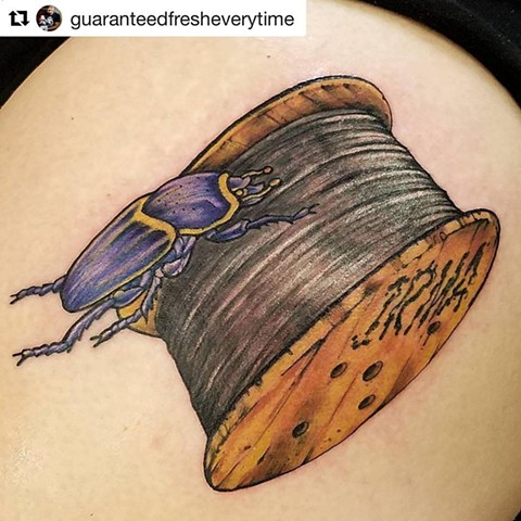 Dung Beetle Rolling Wood Spool Tattoo
