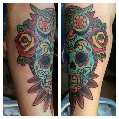 Owl Sugar Skull with Roses Tattoo