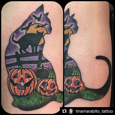 Halloween Cat Tattoo