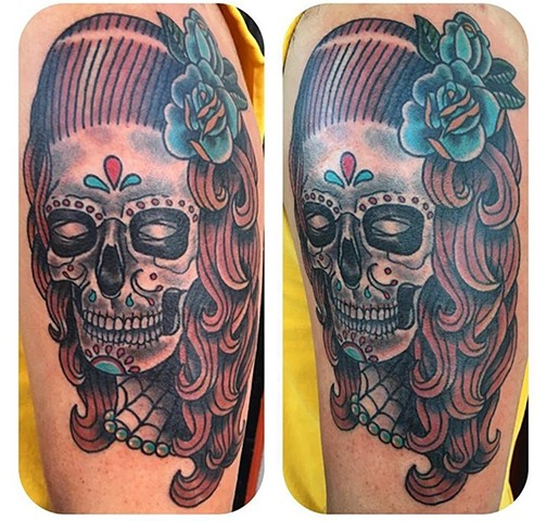 Traditional Day of the Dead Sugar Skull Lady Tattoo - Tina Marabito