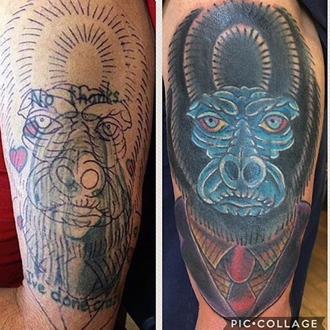 Traditional Gorilla Coverup Tattoo