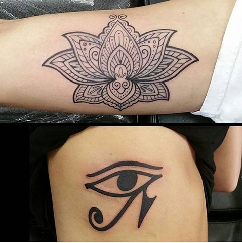 Lotus and Egyptian Eye of Horus Tattoo - Eric Hendrickson