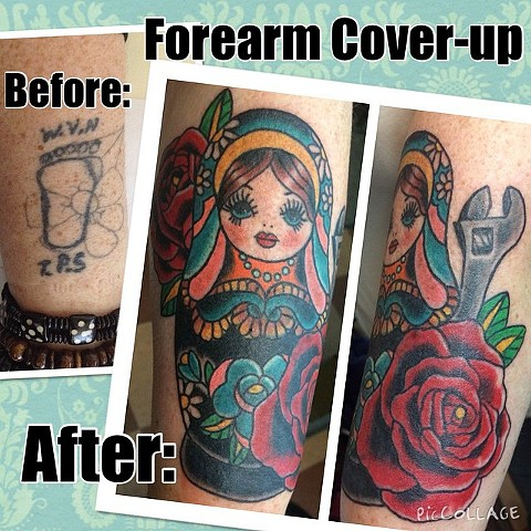 Russian Nesting Doll with Wrench Cover-Up Tattoo