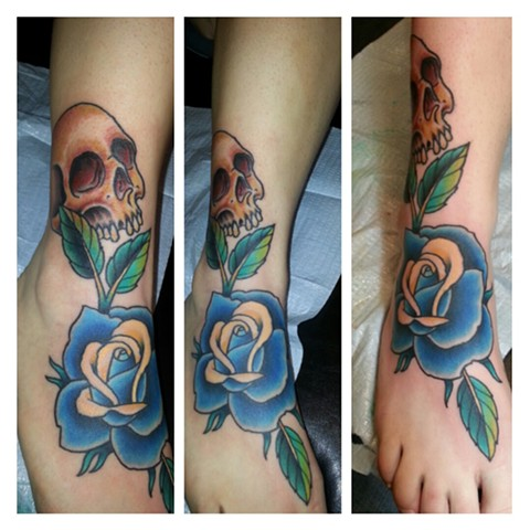 Rose and Skull Foot Tattoo