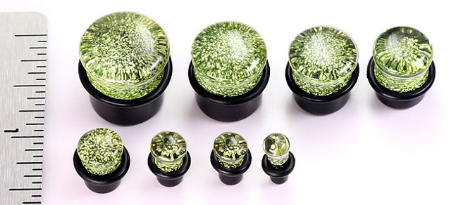 Green Acrylic Glitter Plugs