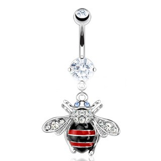 Bee Dangle Belly Button Barbell Body Jewelry