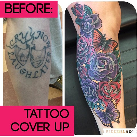 Roses and Butterflies Cover Up Tattoo
