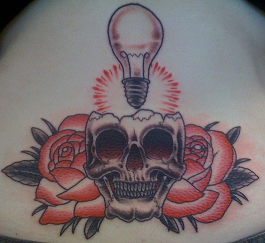 Skull Lightbulb Roses Tattoo