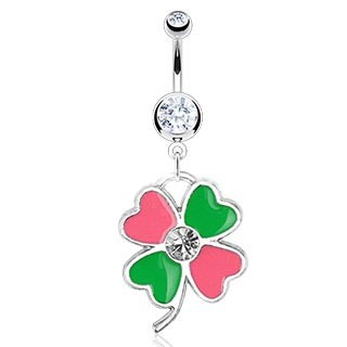 Pink and Green Clover Navel / Belly Button Dangle Barbell
