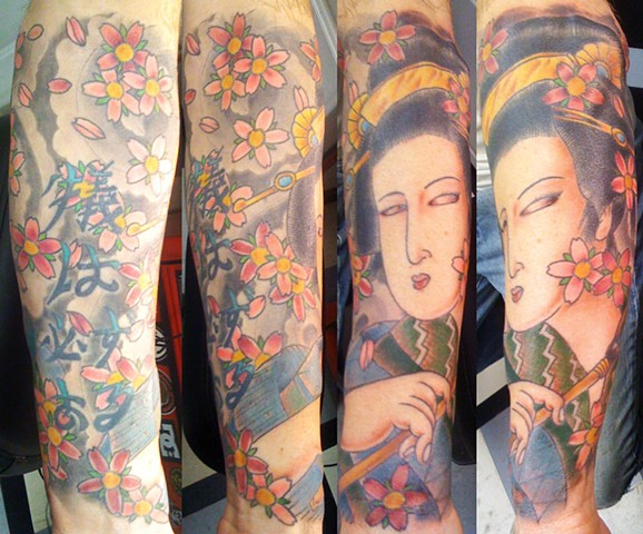 Geisha and Cherry Blossom Tattoo