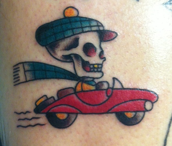 Skull Convertible Car Traditional Tattoo
