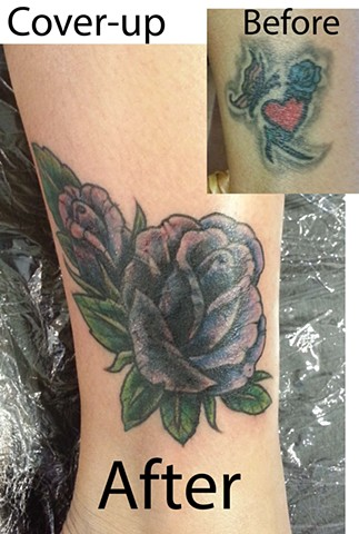 Purple Rose Tattoo Cover-up