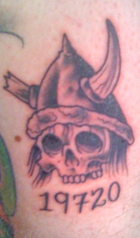Viking Skull Zipcode Tattoo