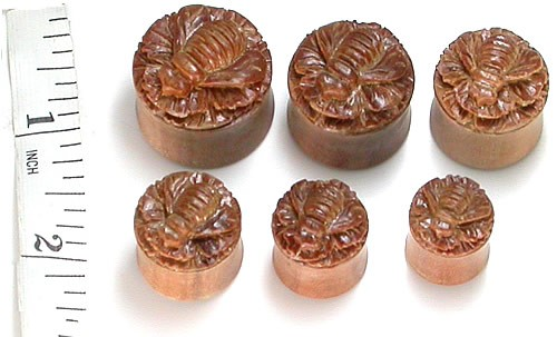 Carved Bee Organic Wood Plugs