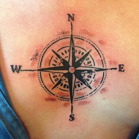 Distressed Compass Tattoo on Chest