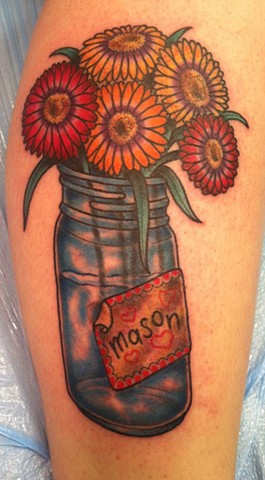 Mason Jar with Flowers Tattoo