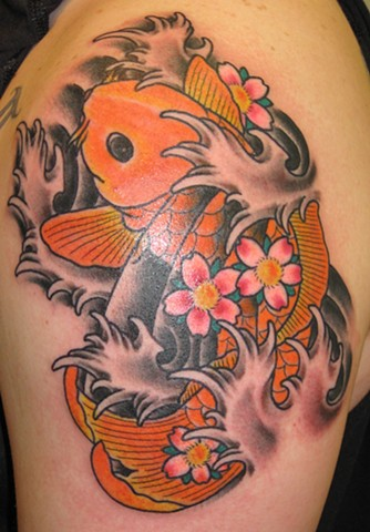 Koi Fish with Cherry Blossoms and Waves Tattoo