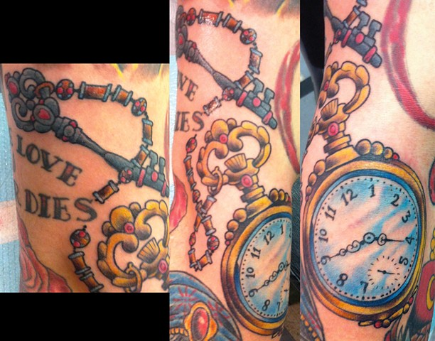 Pocket Watch and Key Tattoo