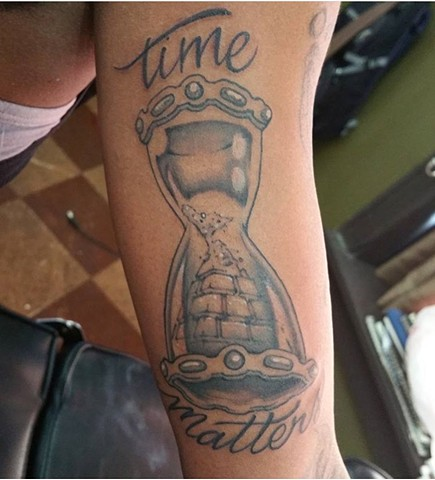 "Black and Gray ""Time Matters"" Pyramid Hourglass Tattoo - Eric Hendrickson"