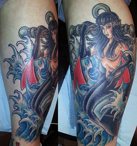 Anchor and Mermaid Tattoo