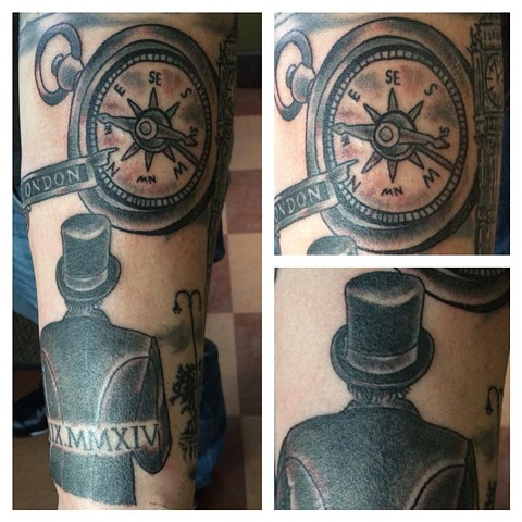 Work on a London Half Sleeve Tattoo - Compass and Dapper Man