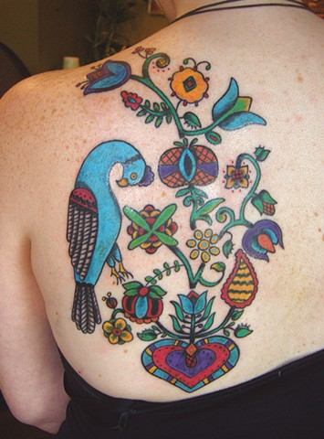 Folk Art Tree and Bird Tattoo