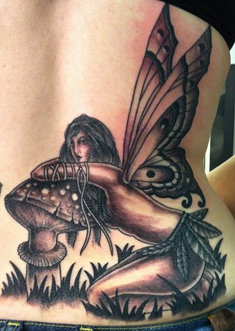 Fairy and Mushroom Tattoo