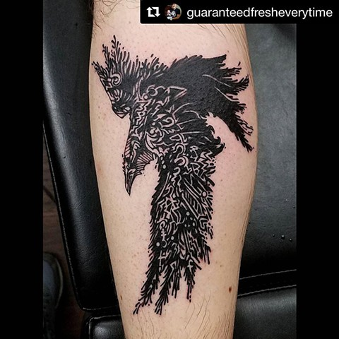 Raven Calf Tattoo