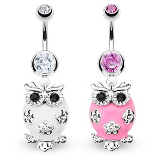 Pink / White Dangle Owl Belly Button Barbell Jewelry