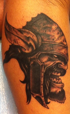 Black and Gray Viking Tattoo