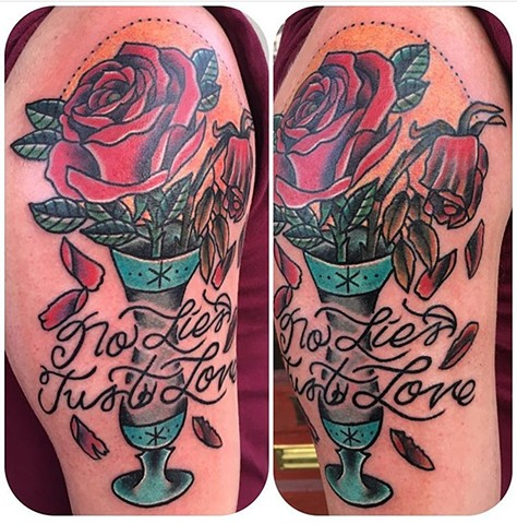 Traditional Vibrant and Wilting Rose Tattoo - Tina Marabito